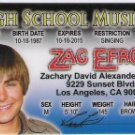 ZAC EFRON DRIVERS LICENSE