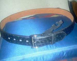 ***New Black Ostrich BELT With Buckle***LQQK