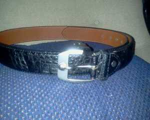 ***New BLACK ALLIGATOR BELT With Silver Lion Buckle***LQQK