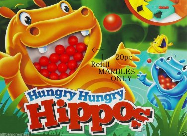 20pc REFILL MARBLES Food Ball HASBRO Hungry Hungry Hippos Game Replacement Parts