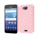 For Kyocera Hydro Wave C6740 Air C6745 Pink White Hybrid Case Cover with Pretty Bling!