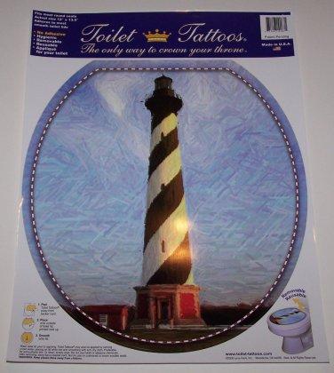 TOILET TATTOO Round Cling LIGHTHOUSE Cape Hatteras Ocean Bathroom Decor Rental Dorm