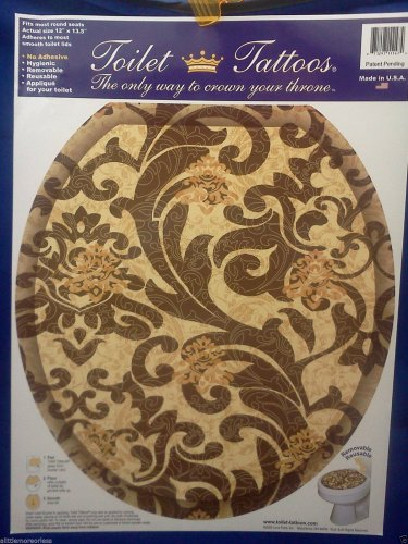Toilet Tattoo Round Tuscany Brown Scroll Pattern Bathroom Decor Gold Tuscan Sun
