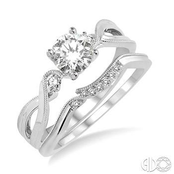 14K White Gold Lovebright Diamond Wedding Set with Artistic Design and Invisible Halo