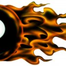 "6"" printed airbrushed design Flaming 8 ball vinyl decal sticker for any smooth surface."