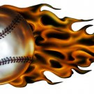 "6"" printed airbrushed design Flaming baseball sports vinyl decal sticker for any smooth surface."