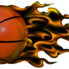 "6"" printed airbrushed design flaming basketball sports vinyl decal sticker for any smooth surface."