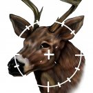 "6"" printed airbrushed design deer in scope sight hunting vinyl decal sticker for any smooth surface."