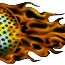 "6"" printed airbrushed design flaming golf ball sports vinyl decal sticker for any smooth surface."
