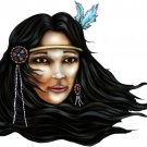 "6"" printed airbrushed design native woman vinyl decal sticker for any smooth surface."