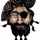 "6"" printed airbrushed  design pirate vinyl decal sticker for any smooth surface."