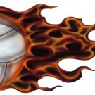 "6"" printed airbrushed  design flaming volley ball vinyl decal sticker for any smooth surface."