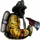 "6"" printed airbrushed  design fire fighter vinyl decal sticker for any smooth surface."