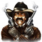 "6"" printed airbrushed  design cowboy vinyl decal sticker for any smooth surface."