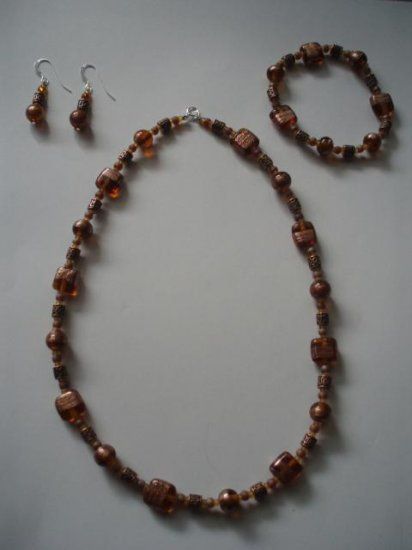 Murano glass and copper beads set