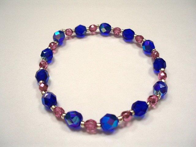 Czech glass bracelets Blue and pink