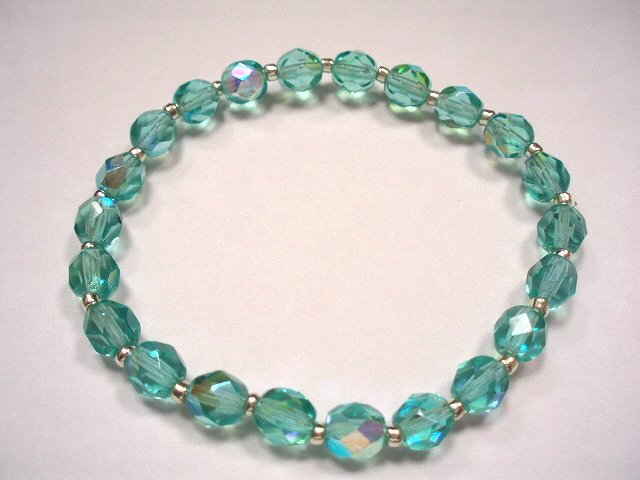 Aqua Czech glass bracelet