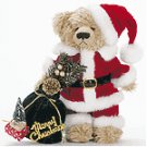 "11"" STUFFED SANTA BEAR W/BAG"