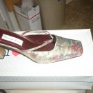 Mixed color mules with heel