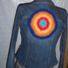 Bitten Sarah Jessica Parker jean jacket with added hippie patch on back