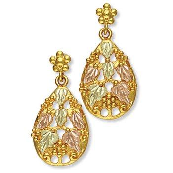 Black Hills Gold Teardrop Post Dangle Earrings