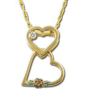 Black Hills Gold Rose Leaves Diamond Heart Necklace
