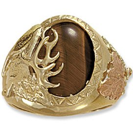 Black Hills Gold Tiger's Eye Elk Design Men's Ring