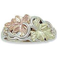 Black Hills Gold On Sterling Silver 2 Leaf Ladies Ring