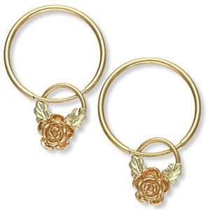"Black Hills Gold Rose 5/8"" Hoop 2 In 1 Earrings"