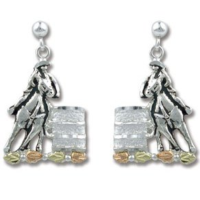 Black Hills Gold Silver Barrel Racer Post Earrings