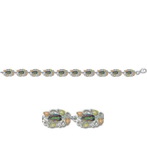 Black Hills Gold Mystic Fire Topaz Sterling Silver Bracelet