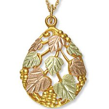 Black Hills Gold Leaves & Grapes Teardrop Necklace