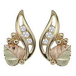 Black Hills Gold Earrings 3 Diamonds & 1 Leaf Post
