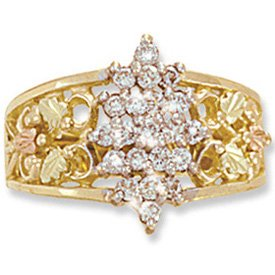 Black Hills Gold Diamond Cluster Ladies Ring .42