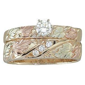 Black Hills Gold Ring Ladies Wedding Set Bridal Diamond Set .23 TDW