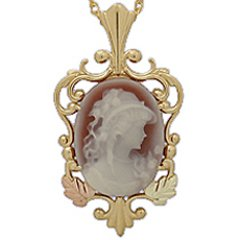 Black Hills Gold Necklace Red Agate Lady Cameo