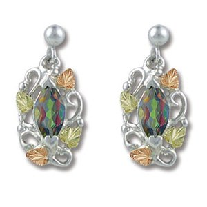 Black Hills Gold Mystic Fire Topaz Silver Earrings
