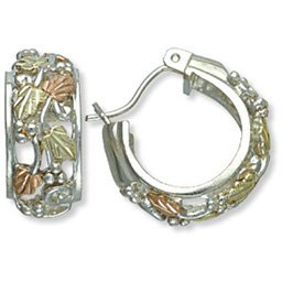 Black Hills Gold 6 Leaves On Silver Hoop Earrings