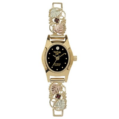 Black Hills Gold Watch Ladies Garnet & Diamond Exquisite