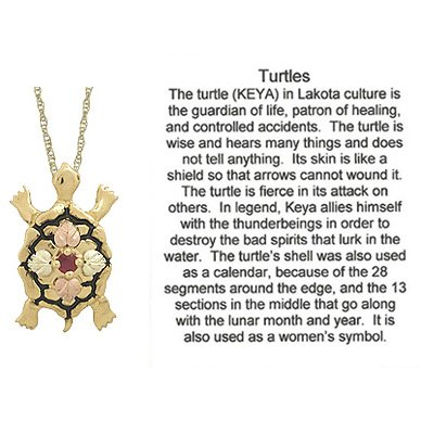 Black Hills Gold Necklace Ruby Turtle