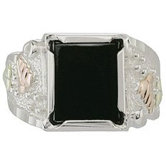 Black Hills Gold Ring Mens Black Onyx Silver