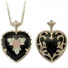 Black Hills Gold Necklace Rose & Black Onyx Reversible