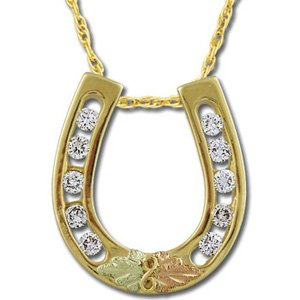 Black Hills Gold Diamond Horseshoe .50 TDW Necklace
