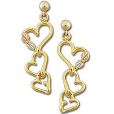 Black Hills Gold 3 Entwined Hearts Post Earrings