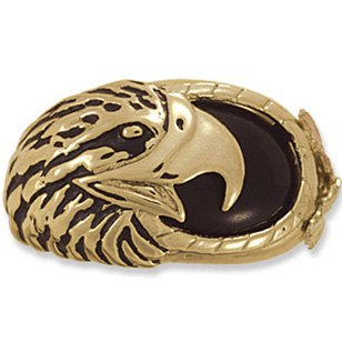 Black Hills Gold Onyx Eagle Antiqued Men's Ring