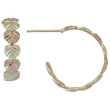 Black Hills Gold Earrings Hearts Hoop Post