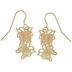 Black Hills Gold Earrings Butterflies French Hook