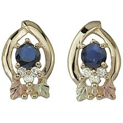 Black Hills Gold Earrings Sapphire & Diamond Post