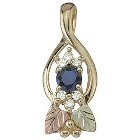 Black Hills Gold Pendant Necklace Sapphire Diamond
