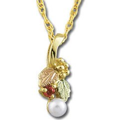 Black Hills Gold Ruby And Pearl Necklace